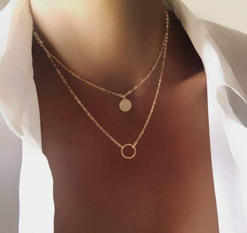 Collier double chaine pendentif cercle medaille