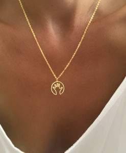 Collier original pendentif dore