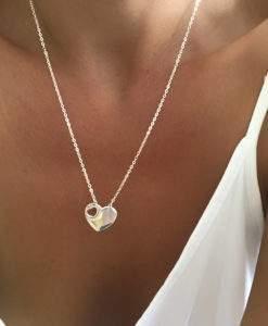 collier cadeau coeur argent