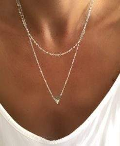 Collier double rang triangle argent